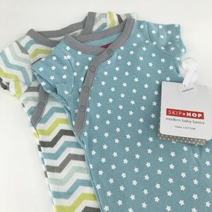 Set of 2 Newborn Baby Boy Side Snap Bodysuits